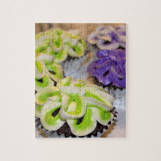 Green and White and Purple Frosted Cupcakes Jigsaw Puzzles