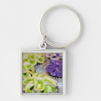 Green and White and Purple Frosted Cupcakes Silver-Colored Square Keychain