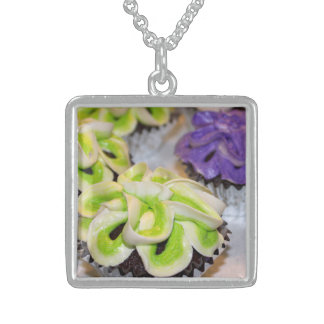 Green and White and Purple Frosted Cupcakes Square Pendant Necklace
