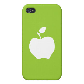Green and White Apple Cover For iPhone 4
