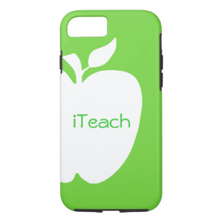 Green and White Apple Teacher's iPhone 7 case