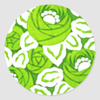 Green and White Art Deco Flower sticker