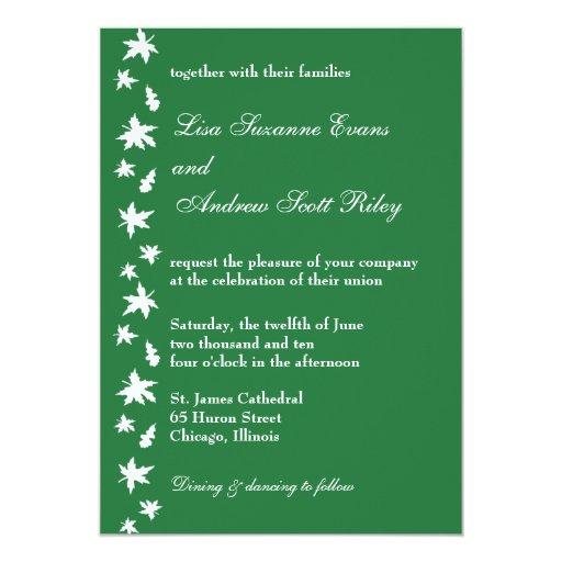 Green and White Autumn Leaf Wedding Invitation