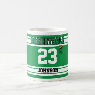 Green and White Basketball Classic White Coffee Mug