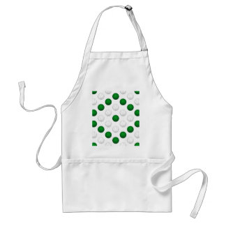 Green and White Basketball Pattern Adult Apron