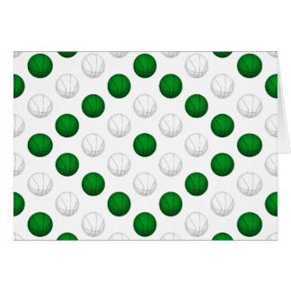 Green and White Basketball Pattern Cards
