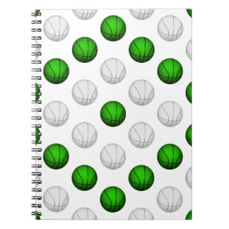 Green and White Basketball Pattern Spiral Notebooks
