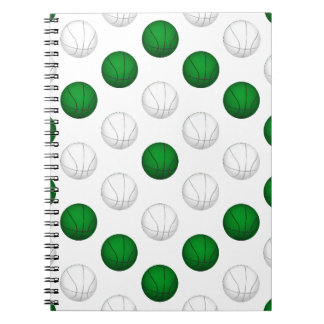 Green and White Basketball Pattern Notebook