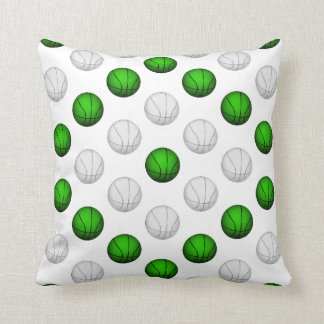 Green and White Basketball Pattern Pillow