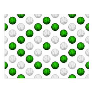 Green and White Basketball Pattern Postcard