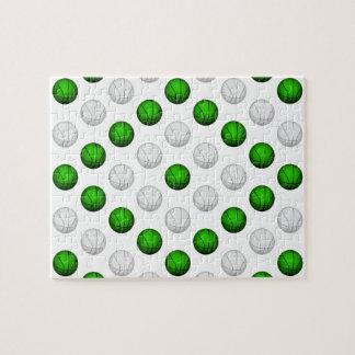 Green and White Basketball Pattern Jigsaw Puzzle