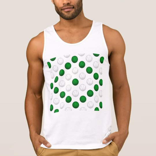 Green and White Basketball Pattern Tank Top
