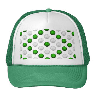 Green and White Basketball Pattern Trucker Hat