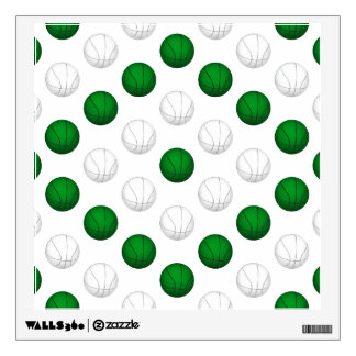 Green and White Basketball Pattern Wall Decal