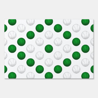 Green and White Basketball Pattern Lawn Sign
