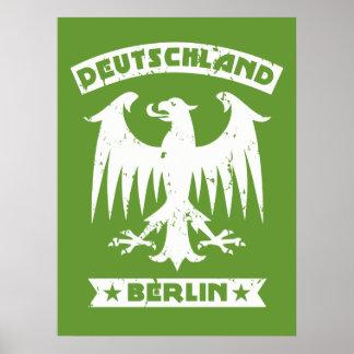 Green and White Berlin Deutschland German Eagle Poster