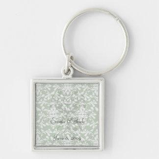 green and white bird damask pattern keychains