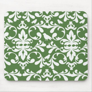 green and white bird damask pattern mouse pad