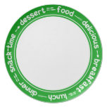 Green and white Breakfast Lunch Dinner text plate