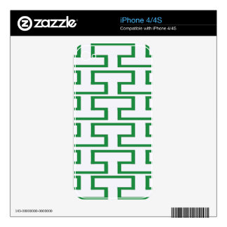Green and White Bricks Decals For The iPhone 4