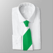 Green and White Broad Regimental Stripe Neck Tie
