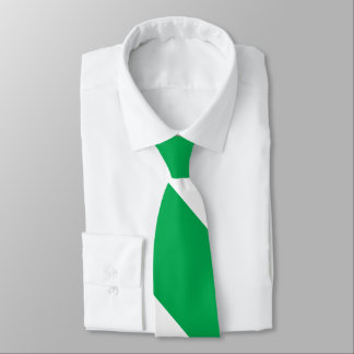 Green and White Broad University Stripe Neck Tie