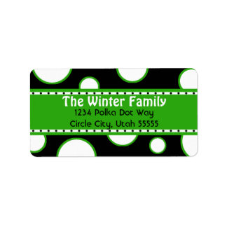 Green and White Bubbles Address Label