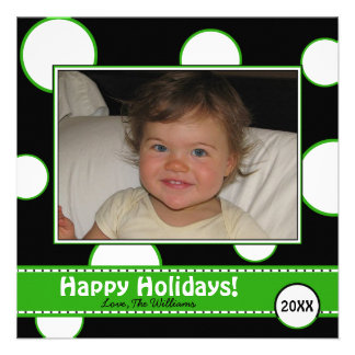 Green and White Bubbles Holiday Photo Card Custom Invites