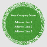 Green and White Business Address Lables Classic Round Sticker