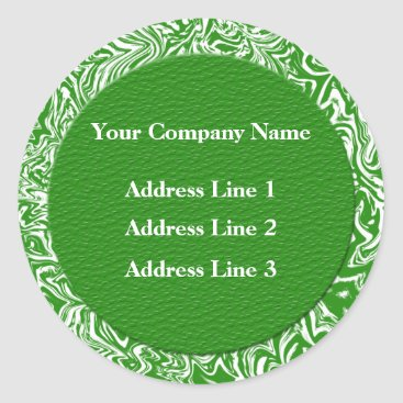 Professional Business Green and White Business Address Lables Classic Round Sticker