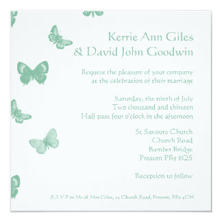 Green and White Butterfly Wedding Invitation