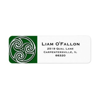 Green and White Celtic Knot Triskelion Labels