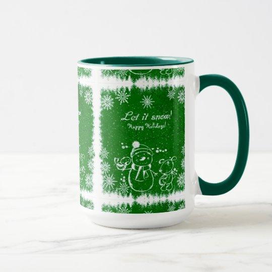 Green And White Chalk Snowman-Let It Snow Mug