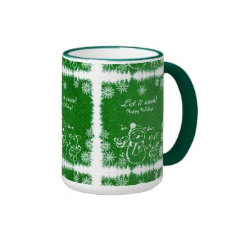 Green And White Chalk Snowman-Let It Snow Ringer Coffee Mug