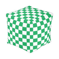 Green and White Checked Cube Pouf