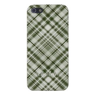green and white checked diagonal tartan plaid iPhone SE/5/5s case