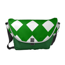 Green and White Checked Messenger Bag
