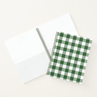 Green and White Checked Plaid Sketch Notes Notebook