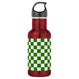 Green and White Checked Stainless Steel Water Bottle