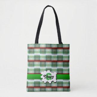 Green and white checker vibrant monograms bag