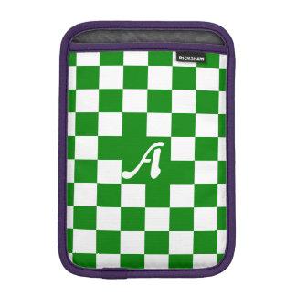 Green and White Checkered Monogram iPad Mini Sleeves