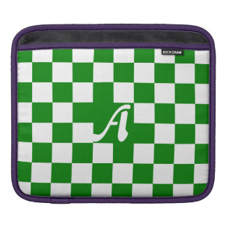 Green and White Checkered Monogram Sleeves For iPads