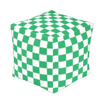 Green and White Checkered Ottoman