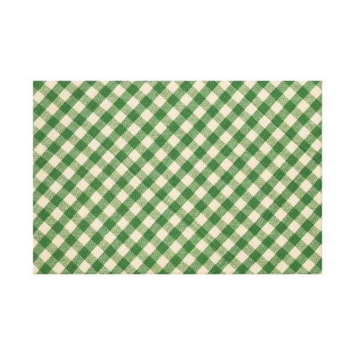 Green and White Checkered Plaid Fabric Pattern Canvas Print