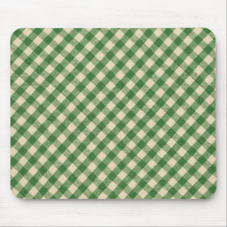 Green and White Checkered Plaid Fabric Pattern Mouse Pad