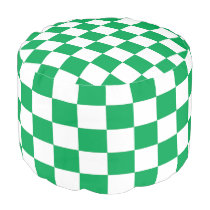 Green and White Checkered Pouf