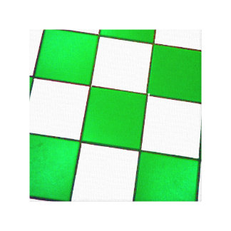 green and White checkered tile floor Canvas Print