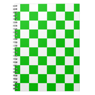 Green and White Chequered Pattern Notebooks