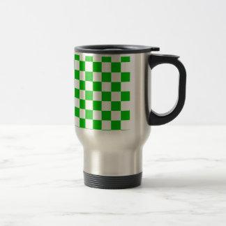 Green and White Chequered Pattern Travel Mug