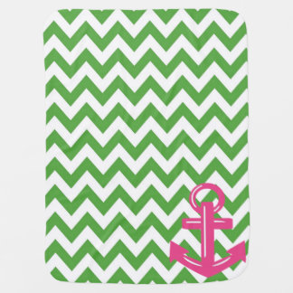 Green and White Chevron Anchor Throw Blanket Stroller Blankets